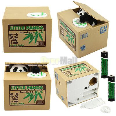 Automated Itazura Stealing Panda Coins Piggy Bank Money Saving Box Case+Battery