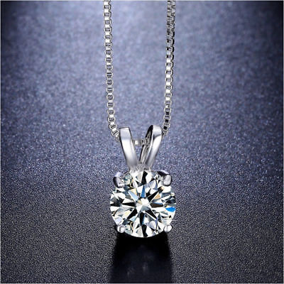 2ct Round Cut Solitaire CZ Cubic Zirconia Pendant with Silver 18 -