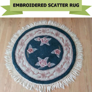 """GOOD QUALITY ROUND EMBROIDERED RUG - DIAMETER 36"""""""