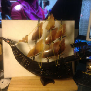 VINTAGE CHINESE Art Deco SAILING SHIP BOAT HORN