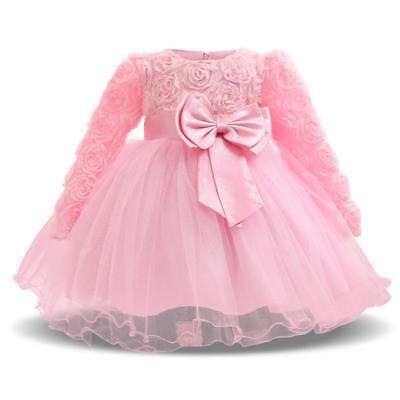 Baby Girl Dress For Formal Special Occasion Wear Floral Bow Design Elegant Wears