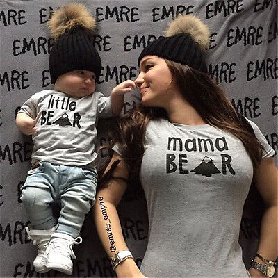 Mama Bear Baby Bear - Couple T-Shirt Women Mama Baby Kid Bear Matching Shirt Family Clothes Top US wea