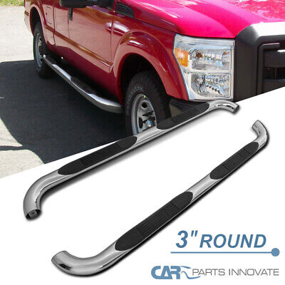 """For 99-16 F250 F350 F450 Super Cab 3"""" Polish Stainless Steel Side Step Nerf Bars"""