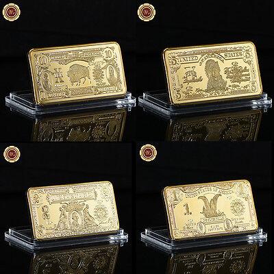 WR 24K Gold Bar Set 1899 $1 $2 $5 & 1901 $10 US Bison Note Collectible Keepsake