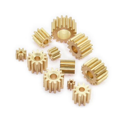 2PCS 7-16 Teeth 0.3/0.4/0.5 Modulus Motor Shaft Reduction Copper Gear 1-5mm Hole