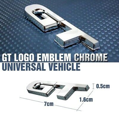 Front Side Rear Trunk GT Logo Emblem Chrome Badge 1EA for Universal Car