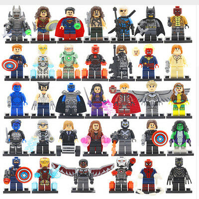Lot Of 34Pcs Minifigures Lego Super Heroes Marvel Dc Series Batman Superman Hulk