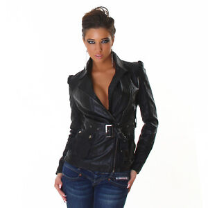 Womens Sexy Faux Leather Look Biker Jacket size 6 8 10 12 XS S M L Zip Soft Belt