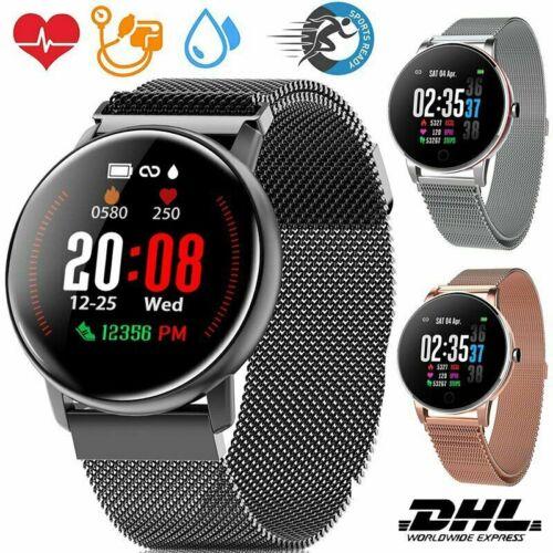 Fitness Armband Uhr Smartwatch +Pulsmesser Wasserdicht für Damen Herren DE 2020