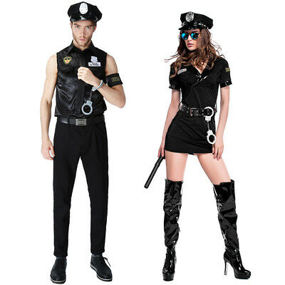 Police Cop Couples Halloween Cosplay Costume Paty Fancy Dress Outfit - Cops Couple Costumes