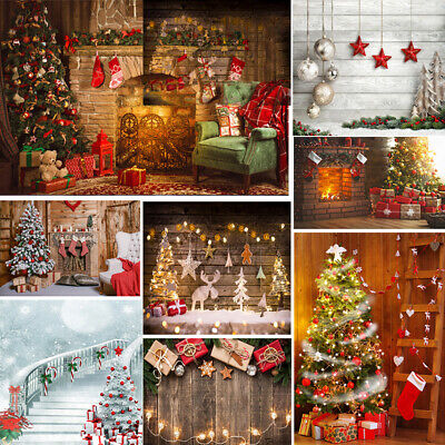 Christmas Backdrops Fireplace Tree Winter Snow Light New Year Studio Background ()