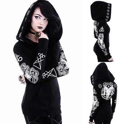 US Womens Tops Gothic Punk Hoodie Girls Jacket Coat Cardigans Halloween Costume](Goth Girl Costumes)