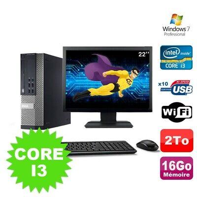 Lot PC Dell Optiplex 990 SFF I3-2120 3.3GHz 16Go 2000Go DVD Wifi W7 + Ecran 22