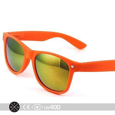 Orange Mirror Lens Neon Frame Party Sunglasses 80s Super Retro FREE Case (Orange Mirror Sunglasses)