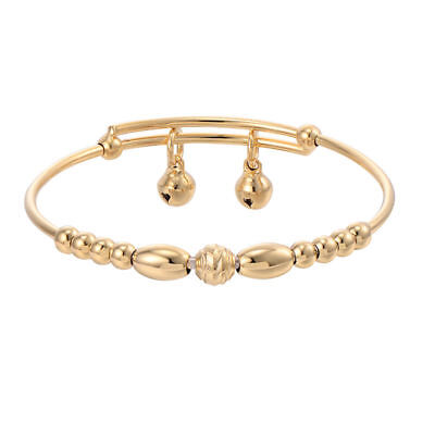 Toddler Girls Baby children Kids Yellow Gold pltaed Jewelry Bell Bangle Bracelet
