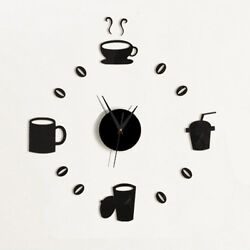 Modern Large DIY Wall Clock 3D Black Number Sticker Home Office Decor Watch Hot*