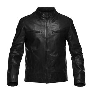M0851 Men's Leather moto jacket. Brand new Small. Homme