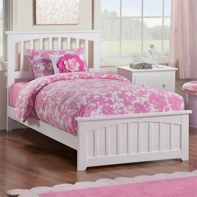 Atlantic Furniture Mission Twin XL Spindle Bed in White