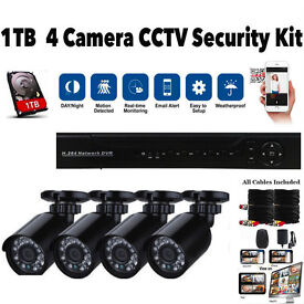 CCTV Security Camera System. Full Kit. 1TB HDMI 8Ch DVR. 4 Cameras. Cables. Mobile Phone View NEW