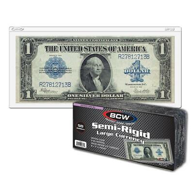 100 BCW Semi Rigid Large Bill Holder Currency Holder