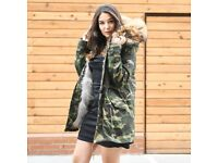 DAYMISFURRY-- Real Fox Fur Lined Parka with Raccoon Fur Hood
