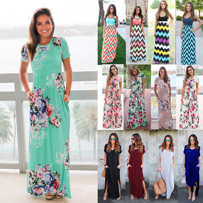 Women Boho Floral Long Maxi Dress Cocktail Party Evening Summer Beach (Party Sundress)