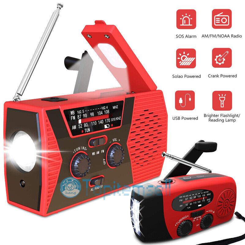 Emergency Solar Hand Crank Weather AM/FM/NOAA Radio SOS Power Bank LED USB Charg