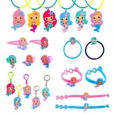 Little Mermaid Party Decor (6 PCS Mermaid Rubber Necklace Bracelet Keychain Baby Shower Birthday Party)
