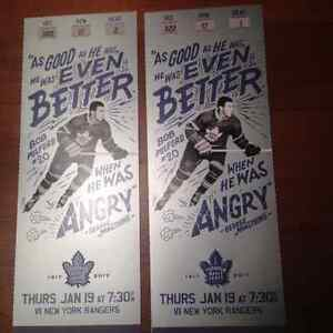 Leafs vs Rangers - January 19 - Centre Ice Purple Section 322
