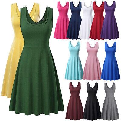 Women Sleeveless High Waist Swing Skater A Line Casual Party Skirt Mini Dress