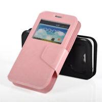 Universal Smartphone PU Leather Magnetic Flip Window Case Pink