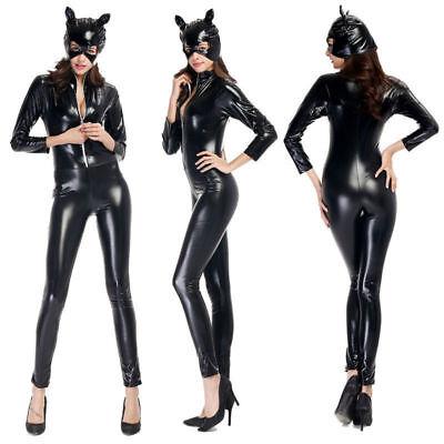Sexy Leather Jumpsuit Costume Adult Super hero Fancy Dress!1 (Catwoman Halloween Fancy Dress)