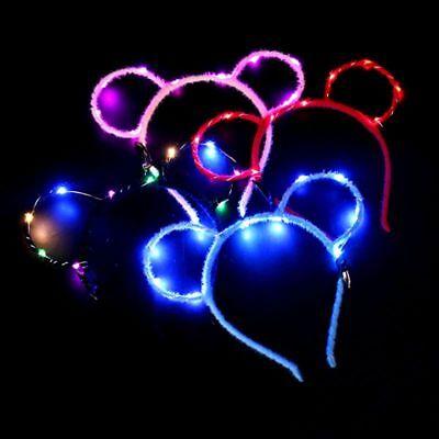 Women Girls LED Flashing Cute Mouse Bear Ears Hair Hoop Glowing Lights Headband](Flashing Headbands)