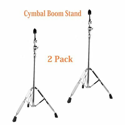 2 Pack Cymbal Boom Stand Drum Hardware Double Braced Arm Chrome Percussion US HM