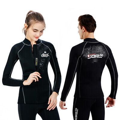 Mens Womens Swimwear 2mm Neoprene Long Sleeve Jacket Front Zipper Wetsuit Top -