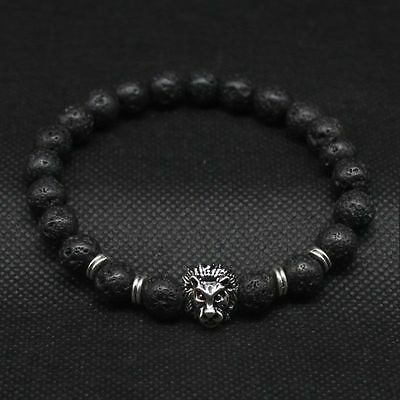 Men Fashion Black Lava Stone Gold&Silver Lion Beaded Cuff Charm Bangle Bracelet Bracelets