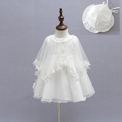 Taufe Motorhaube (Elegant Perlen Taufe Abendkleid Spitze Kleid Stickerei Kleid Umhang Motorhaube)