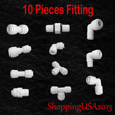 Filter Connector - 10 Pcs Water Filter Connector Fitting Quick Connect Thread Push In 1/4