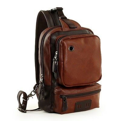 Men's Brown Leather Shoulder Bag Laptop Backpack Hiking Sling Bag Large Bookbag