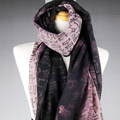 Korean Initial Hangul Printing Unique Fashion Long Scarf Wrap Aubergine Color