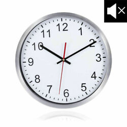 Wall Clock 12 Arabic Numerals Silent Decorative White Dial/Silver Metal Frame