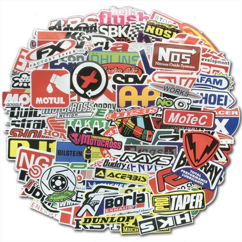 100PCS JDM Stickers Pack Car Motorcycle Racing Motocross Helmet Waterproof Decal