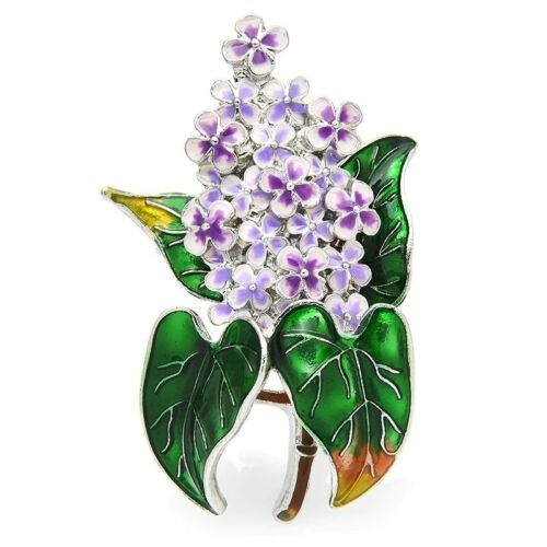 Enamel Lilac Flower Brooches Elegant Party Office Pin Women Fashion Jewelry Gift