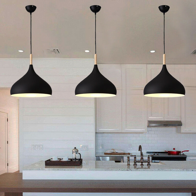 Details About 3x Kitchen Pendant Light Modern Ceiling Lights Bedroom Black Chandelier Lighting
