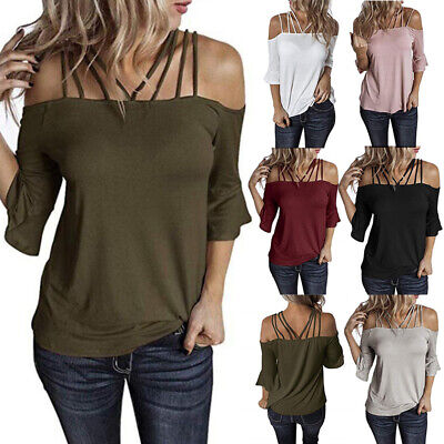 Womens Summer Off Shoulder Sexy T Shirt Flare Sleeve Plus Size Solid Tops