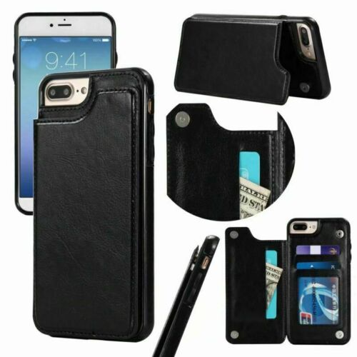 F iPhone 6 7 8 Plus XS Max XR Leather Magnetic Flip Wallet Card Stand Case Cover