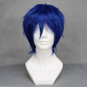 Anime Vocaloid Kaito Wigs Short Mixed Blue Layered Cosplay Wig + Wig Cap
