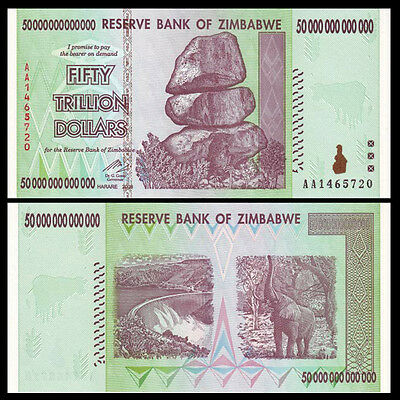 Zimbabwe 50 Trillion Dollars, 2008 AA Series, P-90, UNC