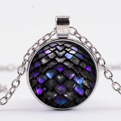 3 Colors Colorful Dragon Egg Game of Thrones Geekery Pendant Glass Necklace (Necklace Game)