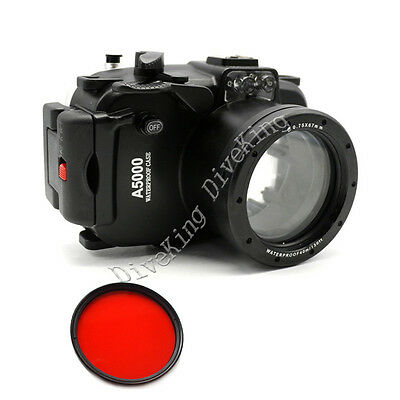Underwater Camera Housing Case Bag for Sony A5000 16-50mm Lens camera Red filter